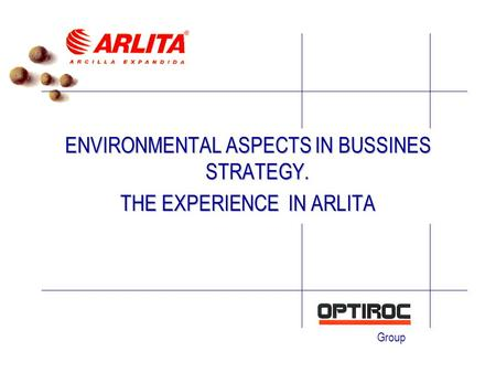 Group ENVIRONMENTAL ASPECTS IN BUSSINES STRATEGY. THE EXPERIENCE IN ARLITA.