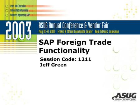 SAP Foreign Trade Functionality