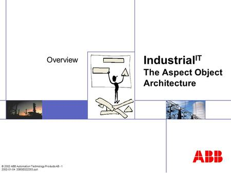 © 2002 ABB Automation Technology Products AB - 1 2002-01-04 33BSE022283.ppt Industrial IT The Aspect Object Architecture Overview.