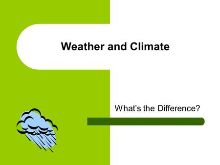Weather and Climate What's the Difference?. Today, you will learn that: Weather and climate are always changing. At times the changes can be sudden and.