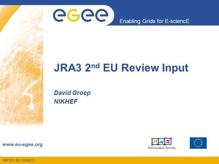 INFSO-RI-508833 Enabling Grids for E-sciencE www.eu-egee.org JRA3 2 nd EU Review Input David Groep NIKHEF.