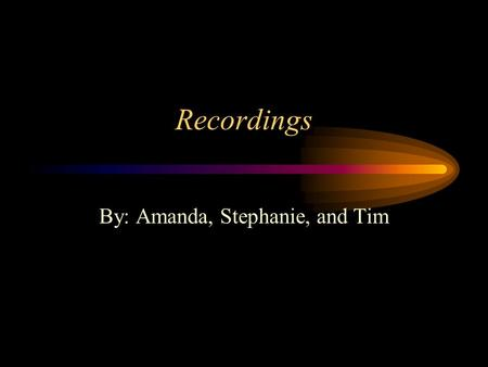 Recordings By: Amanda, Stephanie, and Tim. History of the Recording Industry 1877 – Thomas Edison invented the phonograph, an invention that could playback.