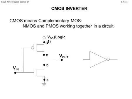 S. RossEECS 40 Spring 2003 Lecture 21 CMOS INVERTER CMOS means Complementary MOS: NMOS and PMOS working together in a circuit D S V DD (Logic 1) D S V.