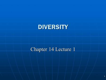 1 DIVERSITY Chapter 14 Lecture 1. 2 Diversity Defined Human diversity Human diversity VisibleVisible Less or invisibleLess or invisible Diverse structural.