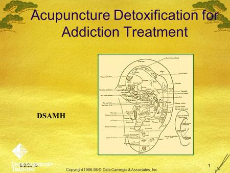 6/2/20151 Acupuncture Detoxification for Addiction Treatment Copyright 1996-98 © Dale Carnegie & Associates, Inc. DSAMH.