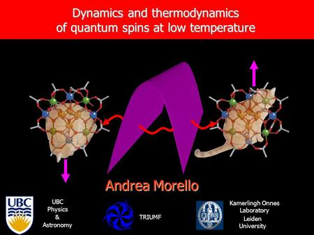 Dynamics and thermodynamics of quantum spins at low temperature Andrea Morello Kamerlingh Onnes Laboratory Leiden University UBC Physics & Astronomy TRIUMF.