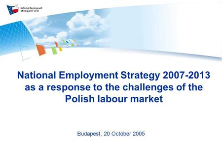 National Employment Strategy 2007-2013 as a response to the challenges of the Polish labour market Budapest, 20 October 2005.