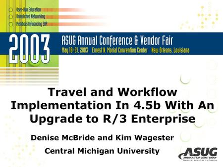 Travel and Workflow Implementation In 4.5b With An Upgrade to R/3 Enterprise Denise McBride and Kim Wagester Central Michigan University.