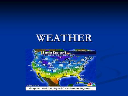 WEATHER. WEATHER Meteorology Meteorology The study of weather The study of weather Meteorologist is a person who studies and analyzes weather. Meteorologist.