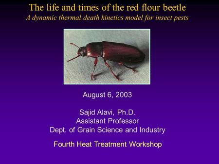 Fourth Heat Treatment Workshop August 6, 2003 Sajid Alavi, Ph.D. Assistant Professor Dept. of Grain Science and Industry The life and times of the red.