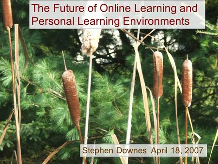 The Future of Online Learning and Personal Learning Environments Stephen Downes April 18, 2007.