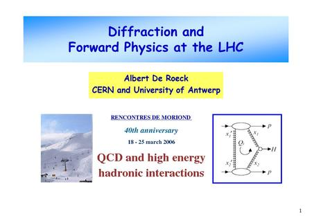 1 Albert De Roeck CERN and University of Antwerp Diffraction and Forward Physics at the LHC.