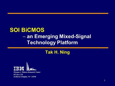 SOI BiCMOS  an Emerging Mixed-Signal Technology Platform