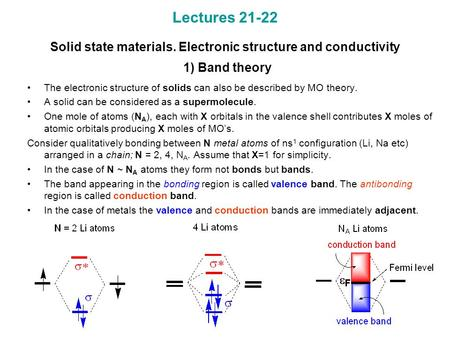 Lectures 21-22 Solid state materials. Electronic structure and conductivity 1) Band theory The electronic structure of solids can also be described by.