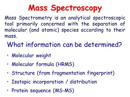 Mass Spectroscopy What information can be determined?