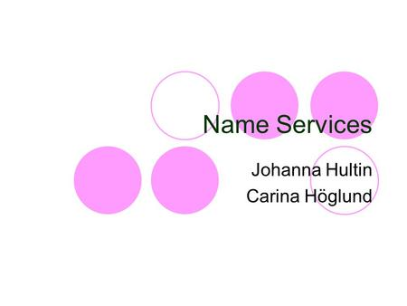 Name Services Johanna Hultin Carina Höglund. Name services Introduction General Terms Name Services Name Space Name Resolution Caching.