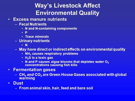 Way's Livestock Affect Environmental Quality Excess manure nutrients –Fecal Nutrients N and N-containing components P Trace minerals –Urinary nutrients.