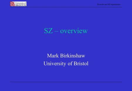 Mark Birkinshaw University of Bristol