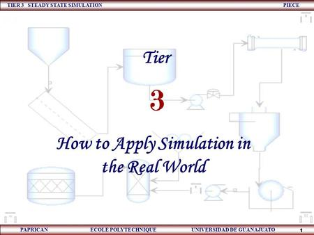 TIER 3 STEADY STATE SIMULATION PIECE PAPRICAN ECOLE POLYTECHNIQUE UNIVERSIDAD DE GUANAJUATO 1 How to Apply Simulation in the Real World 3 Tier.
