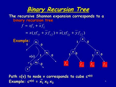 Binary Recursion Tree The recursive Shannon expansion corresponds to a binary recursion tree Example: Path (v) to node v corresponds to cube c(v) Example: