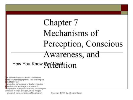 Copyright © 2006 by Allyn and Bacon Chapter 7 Mechanisms of Perception, Conscious Awareness, and Attention How You Know the World This multimedia product.
