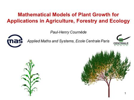 1 Mathematical Models of Plant Growth for Applications in Agriculture, Forestry and Ecology Paul-Henry Cournède Applied Maths and Systems, Ecole Centrale.