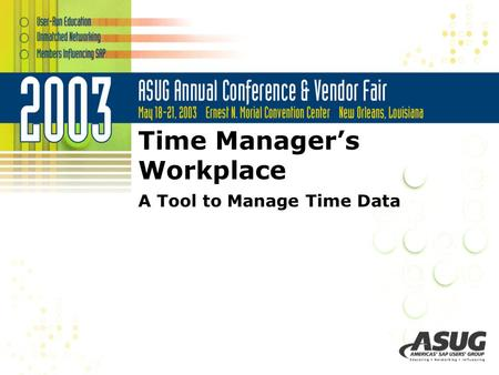 Time Manager's Workplace A Tool to Manage Time Data.