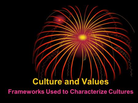 Culture and Values Frameworks Used to Characterize Cultures.