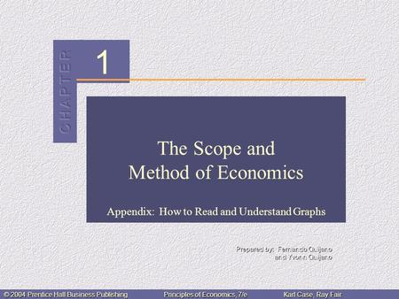 1 © 2004 Prentice Hall Business PublishingPrinciples of Economics, 7/eKarl Case, Ray Fair The Scope and Method of Economics Appendix: How to Read and Understand.