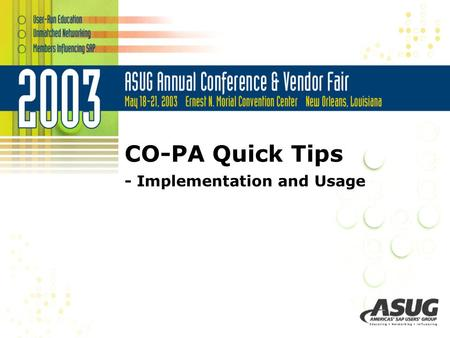 CO-PA Quick Tips - Implementation and Usage. Quick Background Implementation Tips Usage Tips in Production Environment Reporting Tips FYI CO-PA Quick.