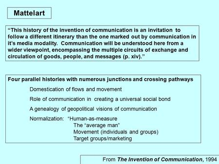 "Mattelart From The Invention of Communication, 1994 ""This history of the invention of communication is an invitation to follow a different itinerary than."