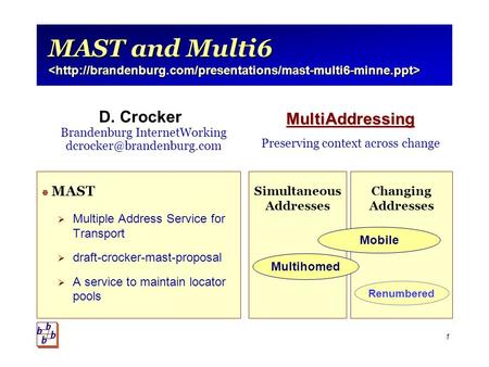 1 MAST and Multi6 MAST and Multi6  MAST  Multiple Address Service for Transport  draft-crocker-mast-proposal  A service to maintain locator pools Simultaneous.