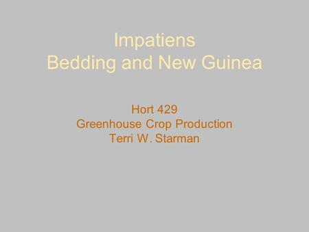 Impatiens Bedding and New Guinea Hort 429 Greenhouse Crop Production Terri W. Starman.