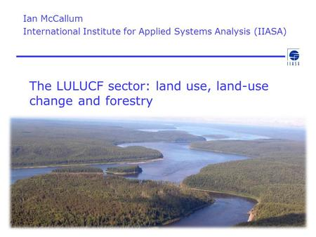 The LULUCF sector: land use, land-use change and forestry Ian McCallum International Institute for Applied Systems Analysis (IIASA)