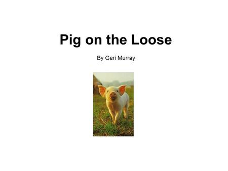 "Pig on the Loose By Geri Murray. Tim and Jan were glad to hear the news. ""Dad and I will be going on a cruise in June,"" said Mom. ""Aunt Sue will stay."