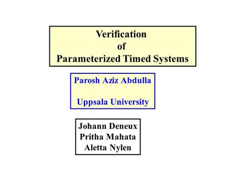 Verification of Parameterized Timed Systems Parosh Aziz Abdulla Uppsala University Johann Deneux Pritha Mahata Aletta Nylen.