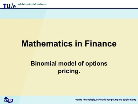 Mathematics in Finance Binomial model of options pricing.