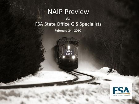 NAIP Preview for FSA State Office GIS Specialists February 24, 2010 NAIP 2010.