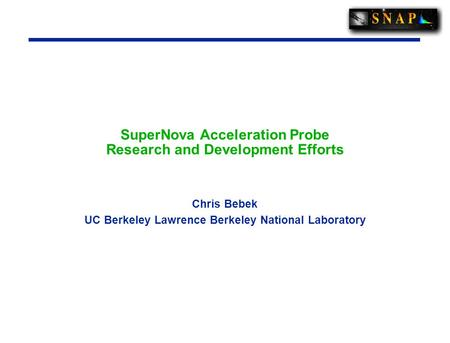 SuperNova Acceleration Probe Research and Development Efforts