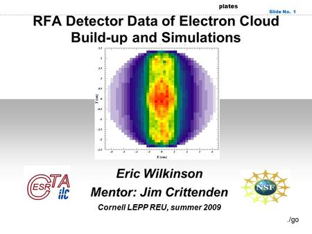 RedOffice.com Presentation templates Slide No. 1 RFA Detector Data of Electron Cloud Build-up and Simulations Eric Wilkinson Mentor: Jim Crittenden Cornell.
