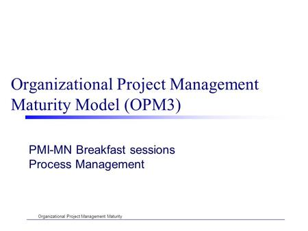 Organizational Project Management Maturity Organizational Project Management Maturity Model (OPM3) PMI-MN Breakfast sessions Process Management.