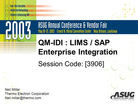 QM-IDI : LIMS / SAP Enterprise Integration