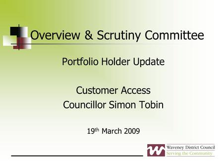 Overview & Scrutiny Committee Portfolio Holder Update Customer Access Councillor Simon Tobin 19 th March 2009.