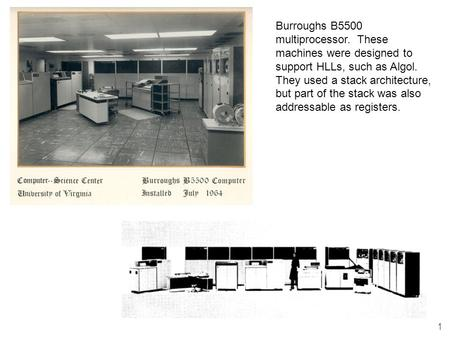 1 Burroughs B5500 multiprocessor. These machines were designed to support HLLs, such as Algol. They used a stack architecture, but part of the stack was.