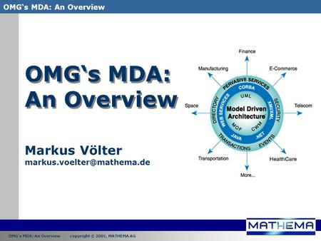 OMG's MDA: An Overview copyright © 2001, MATHEMA AG OMG's MDA: An Overview OMG's MDA: An Overview Markus Völter