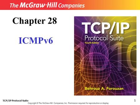 TCP/IP Protocol Suite 1 Copyright © The McGraw-Hill Companies, Inc. Permission required for reproduction or display. Chapter 28 ICMPv6.