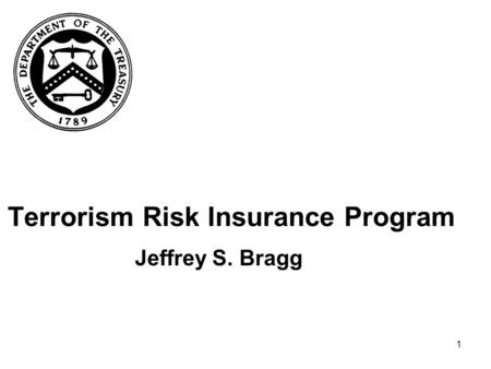 1 Terrorism Risk Insurance Program Jeffrey S. Bragg.