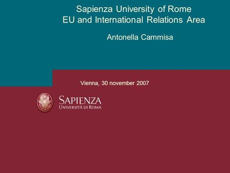 Antonella Cammisa Sapienza University of Rome EU and International Relations Area Vienna, 30 november 2007.