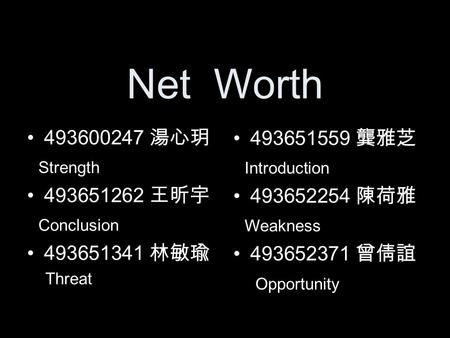 Net Worth 493600247 湯心玥 Strength 493651262 王昕宇 Conclusion 493651341 林敏瑜 Threat 493651559 龔雅芝 Introduction 493652254 陳荷雅 Weakness 493652371 曾倩誼 Opportunity.