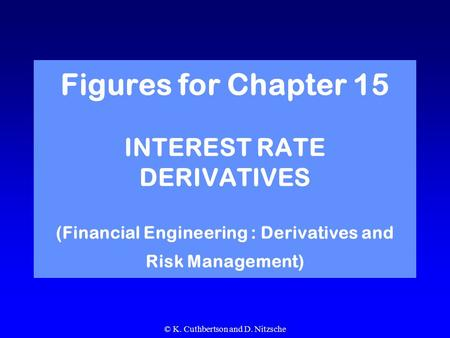 © K. Cuthbertson and D. Nitzsche Figures for Chapter 15 INTEREST RATE DERIVATIVES (Financial Engineering : Derivatives and Risk Management)